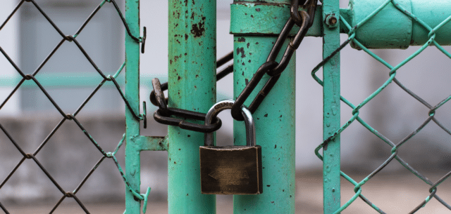 Padlock securing green chainlink fence