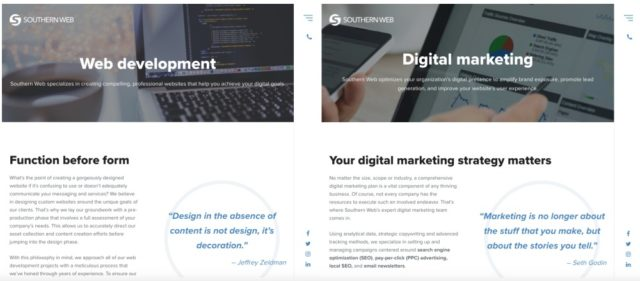 Screencap of Southern Web's web development and digital marketing pages