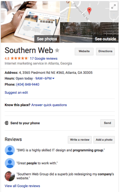 Southern Web's Google My Business listing
