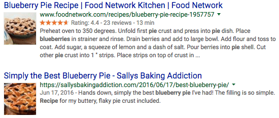 Graphical blueberry pie recipe results, courtesy of structured data.
