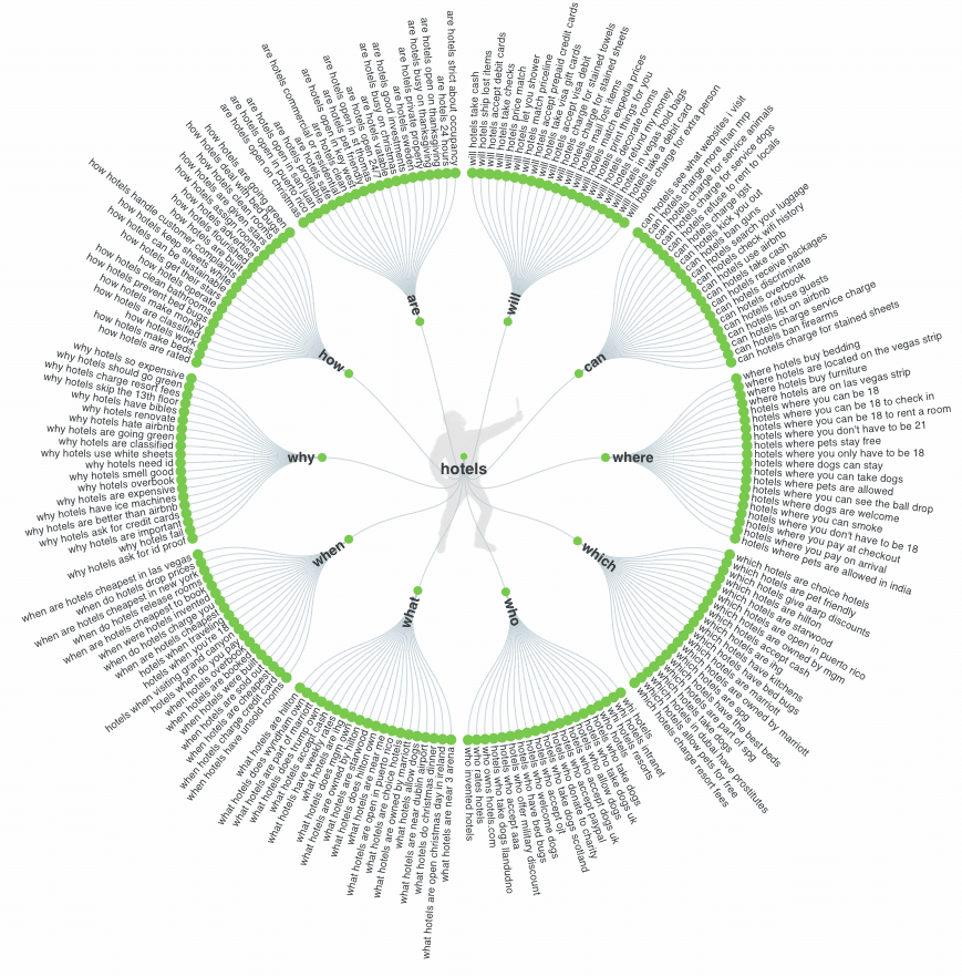 Answer the Public 'hotel' query visualization