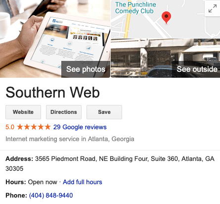 An example of Southern Web's Google My Business listing.