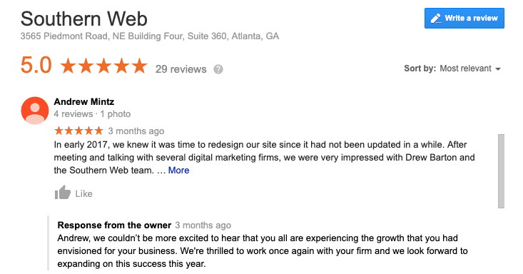 Google Reviews for Southern Web