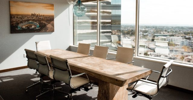 Conference table where business decisions are made.