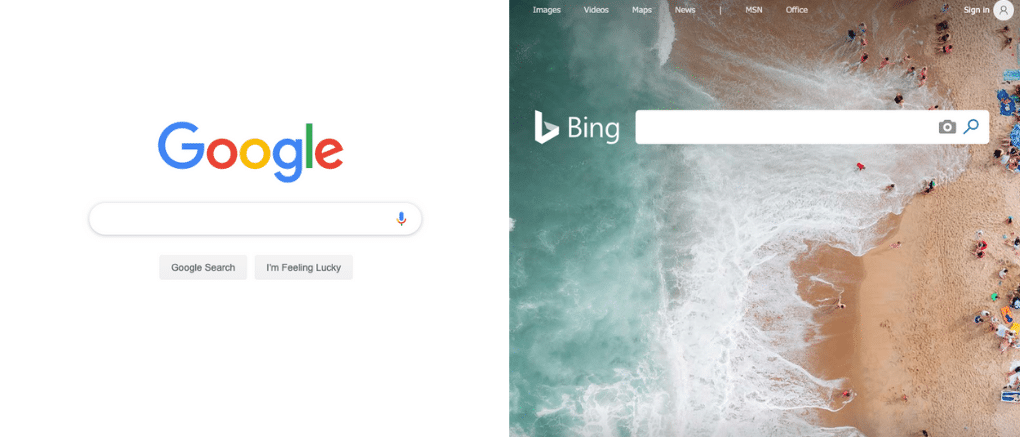 Google vs Bing search engines