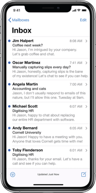 Phone screen showing email inbox full of replies from prospects